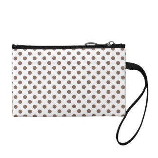 Customizable Taupe on White Polka Dots Change Purse