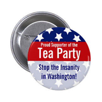 Customizable Tea Party Buttons, Stars and stripes