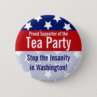 Customizable Tea Party Buttons, Stars and stripes Pinback Button
