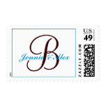 Customizable Teal Brown Monogram Postage Stamps