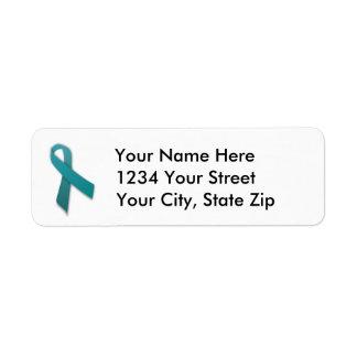 Customizable Teal Cancer Ribbon Address Label