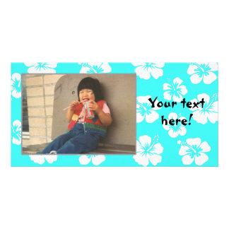 Customizable Teal Hibiscus Photocard Photo Card