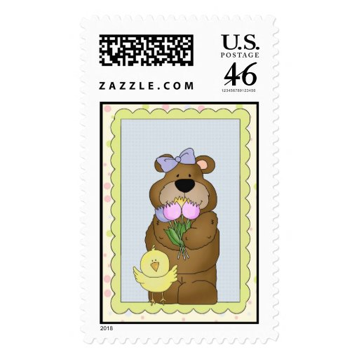Customizable Teddy Bear Easter Card (6) Postage Stamp