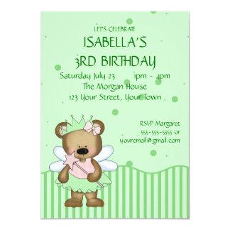 """Customizable Teddy Bear Green Fairy Princess 5"""" X 7"""" Invitation Card"""
