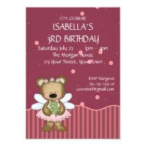 Customizable Teddy Bear Pink Fairy Princess Card