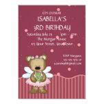 Customizable Teddy Bear Pink Fairy Princess 5x7 Paper Invitation Card