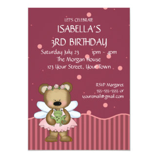 Customizable Teddy Bear Pink Fairy Princess Invitation