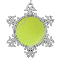 Customizable Tennis Ball Snowflake Pewter Christmas Ornament