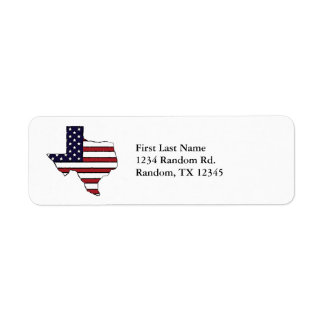Customizable Texas American flag address labels