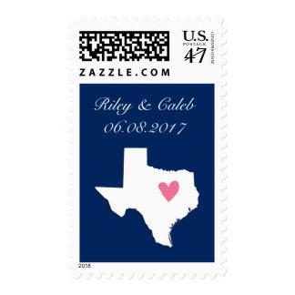Customizable Texas US map heart Wedding stamp