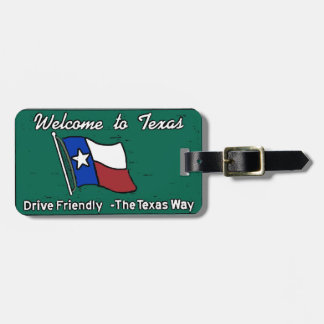 Customizable Texas welcome sign luggage tag