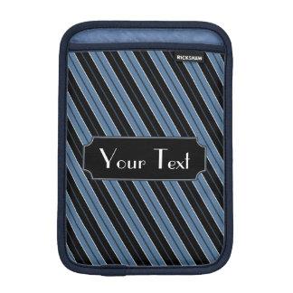 Customizable Text blue black white diagonal stripe Sleeve For iPad Mini