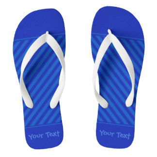 Customizable Text Diagonal dark cobalt blue Stripe Flip Flops