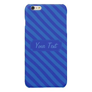 Customizable Text Diagonal dark cobalt blue Stripe Glossy iPhone 6 Plus Case