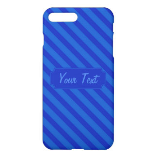 Customizable Text Diagonal dark cobalt blue Stripe iPhone 7 Plus Case