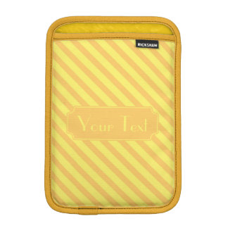 Customizable Text Diagonal yellow orange Stripes iPad Mini Sleeve