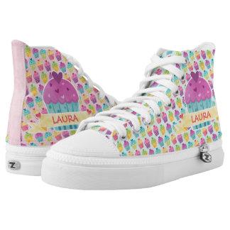 Customizable Text fun PINK-BLUE Colorful Cupcake High-Top Sneakers