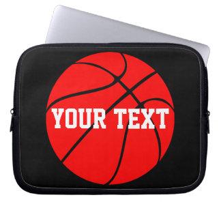 Customizable Text Red Basketball Laptop Sleeve