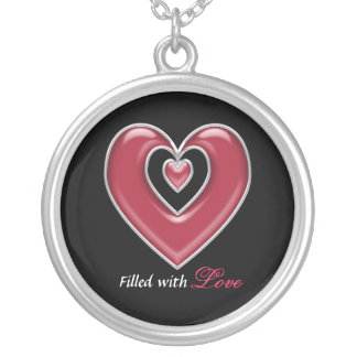 Customizable Text Silver and Red Hearts Necklace