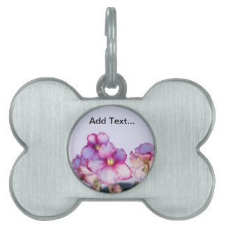 Customizable Text, Violet Flowers Bone Shaped Pet Pet ID Tag