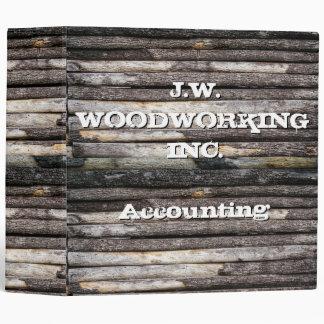 Customizable Text Wooden Logs 3 Ring Binder