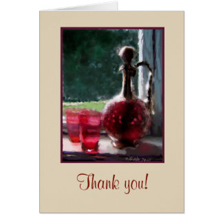 Customizable Thank you card, Cranberry glass Card