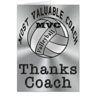 Customizable Thanks Coach Volleyball Coach Card