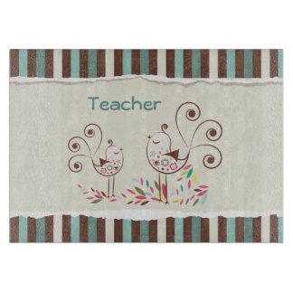 Customizable Thanks Teacher, Whimsical Bird Stripe Cutting Board