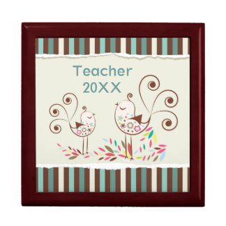 Customizable Thanks Teacher, Whimsical Bird Stripe Keepsake Box