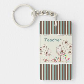 Customizable Thanks Teacher, Whimsical Bird Stripe Rectangular Acrylic Keychains