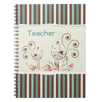 Customizable Thanks Teacher, Whimsical Bird Stripe Notebook