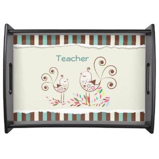 Customizable Thanks Teacher, Whimsical Bird Stripe Food Tray