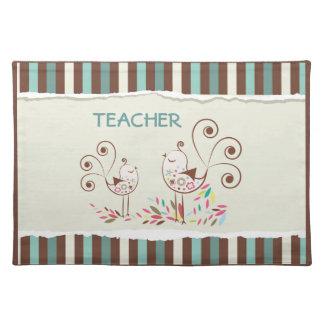 Customizable Thanks Teacher, Whimsical Bird Stripe Cloth Place Mat
