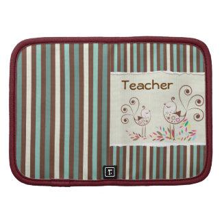 Customizable Thanks Teacher, Whimsical Bird Stripe Folio Planner