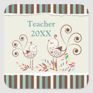 Customizable Thanks Teacher, Whimsical Bird Stripe Square Sticker