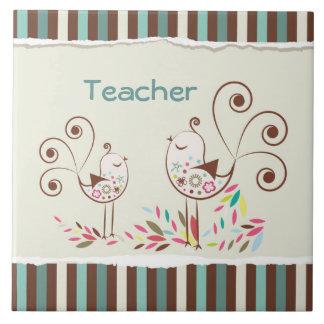 Customizable Thanks Teacher, Whimsical Bird Stripe Large Square Tile