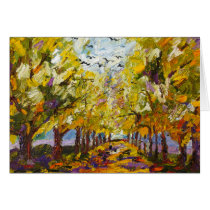 thanksgiving, autumn, holidays, greeting cards, fine art', oil painting, ginette, trees, forest, autumn colors, nature, landscape, landscapes, Card with custom graphic design