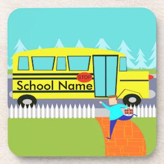 Customizable the Catching School Bus Cork Coasters