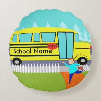 Customizable the Catching School Bus Round Pillow