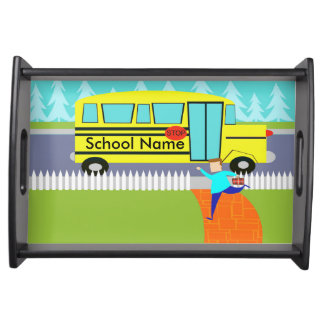 Customizable the Catching School Bus Serving Tray