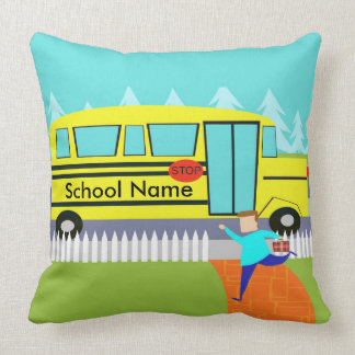 Customizable the Catching School Bus Throw Pillow