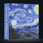 "Customizable The Starry Night by Van Gogh Binder<br><div class=""desc"">Oil painting by the Dutch master Vincent Van Gogh(1853-1890) Probably his most famous painting, Van Gogh painted 'The Starry Night' in 1889 from memory while in an asylum in France where he checked himself in for depression.The scene depicts the view from his bedroom window. In the painting there is the...</div>"