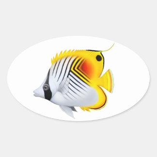 Customizable Threadfin Auriga Butterfly Fish Stick Oval Sticker