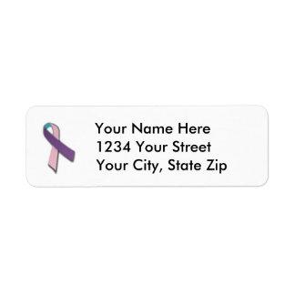 Customizable Thyroid Cancer Ribbon Address Label