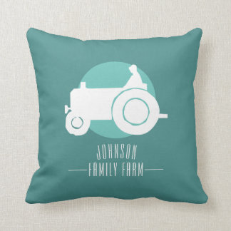 Customizable Tractor Family Farm Pillow, Add Name Throw Pillow