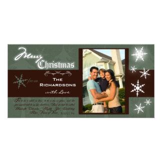 Customizable Traditional Merry Christmas Photocard Card