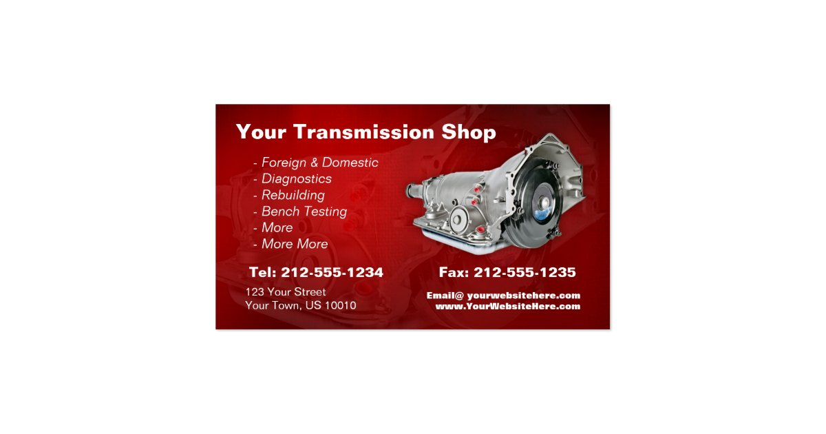 Customizable Transmission Repair Business Card Zazzle