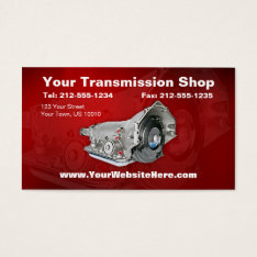 Customizable Transmission Repair Business Card at Zazzle