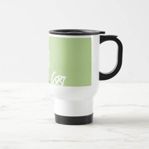 Customizable travel comuter thermo mug green leaf