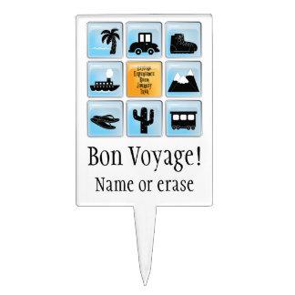 Customizable Travel Icons Bon Voyage Cake Topper
